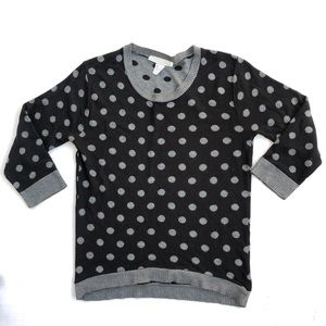 Black and Gray Polka Dot Sweater Size Large